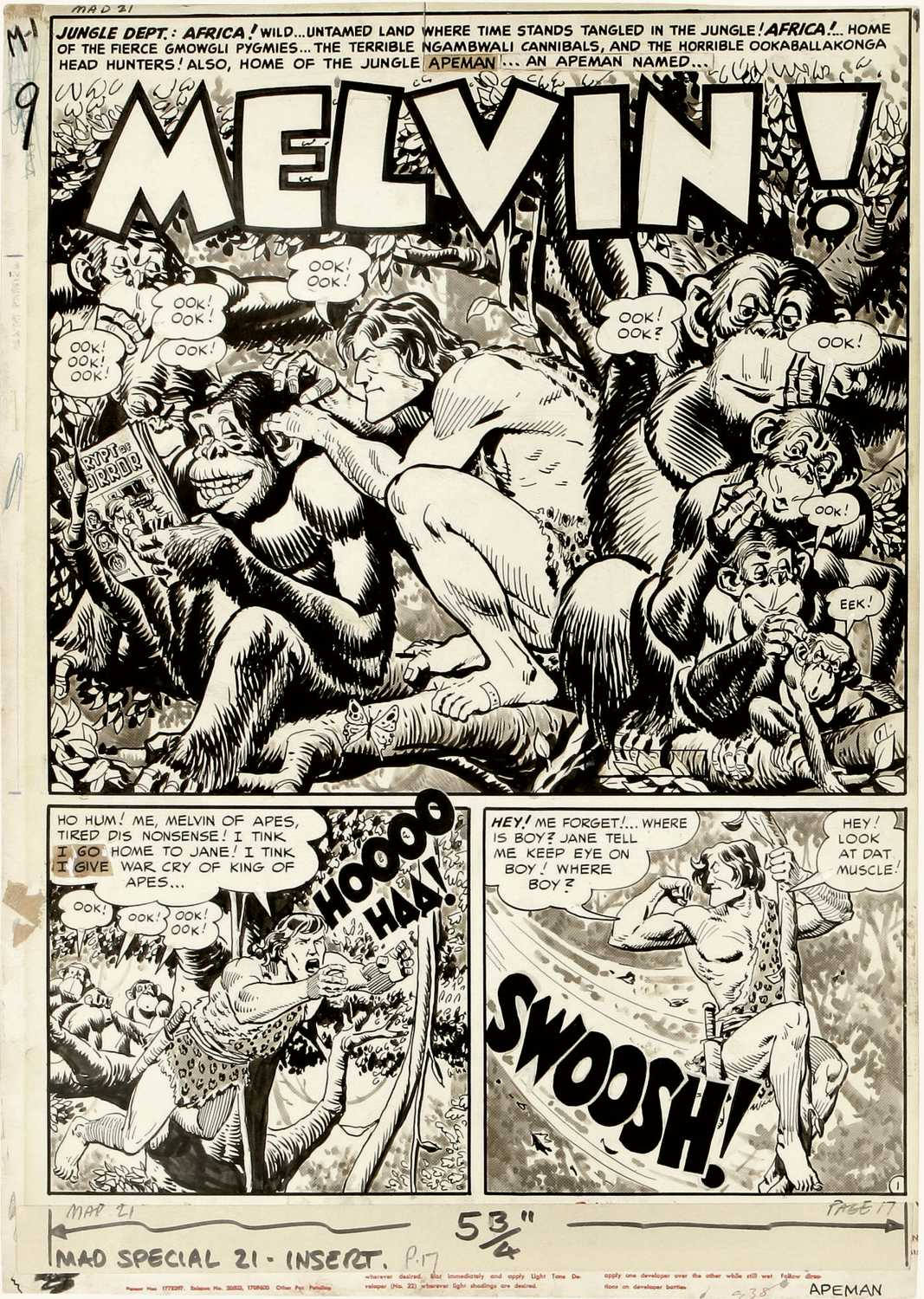 "Original comic art for Mad #2, ""Melvin!"" page 1 (EC, 1952) (see 6756_2 to  view page 2 of this story) (Ecart) (Madart) (Item 6756)"